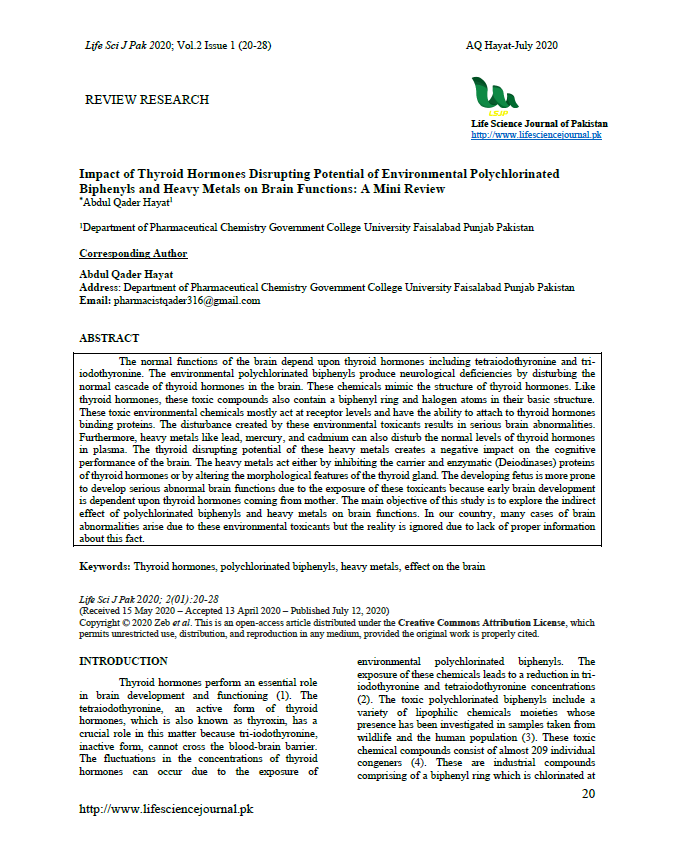 Impact of Thyroid Hormones Disrupting Potential of Environmental Polychlorinated Biphenyls and Heavy Metals on Brain Functions: A Mini Review
